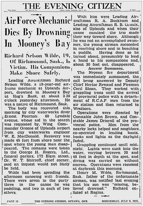 Airforce Mechanic Dies By Drowning In Mooney's Bay - 08 Jul 1941