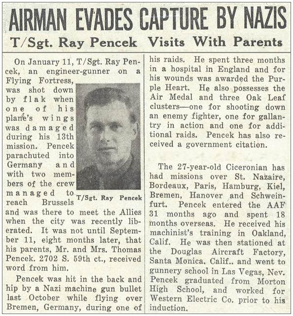 News clip - Airman Evades Capture By Nazis