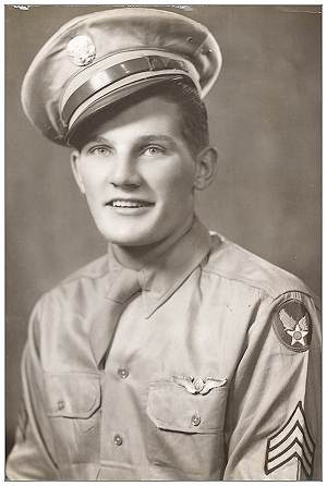 S/Sgt. Roger Walter Collins - Tail Turret Gunner - Army portrait - courtesy Jack Collins, nephew