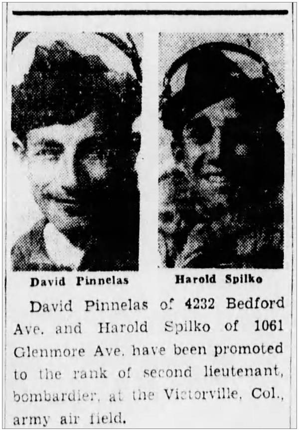 David Pinnelas - Promoted to 2nd Lt. - 1943