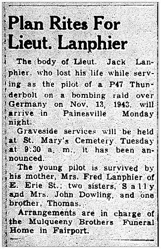 Plan Rites For Lt. Lanphier - newsclip 17 Feb 1944, PT