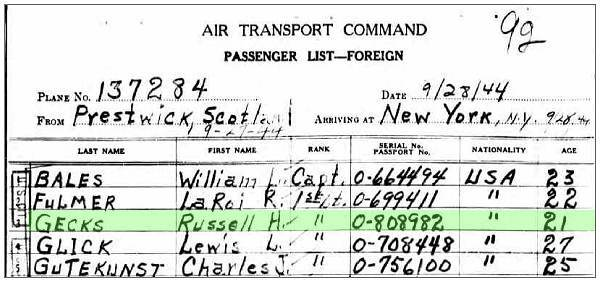 Plane: 137284 - Clip Passenger List - Prestwick, Scotland - 27 Sep 1944 to New York, NY - 28 Sep 1944