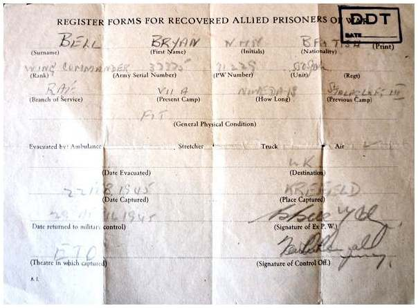 recovered allied POW form - Bryan Bell