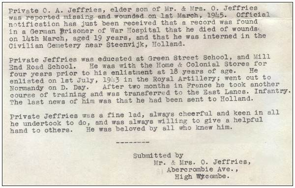 Letter submitted by Mr. & Mrs. O. Jeffries