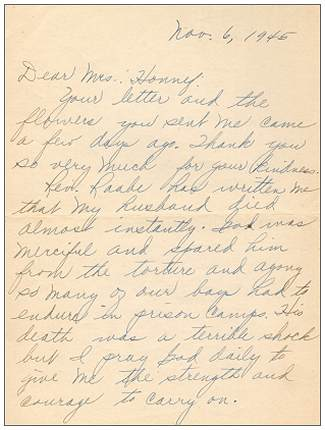 06 Nov 1945 - Letter of Mrs. Bogan Radich to Mrs. Honnef