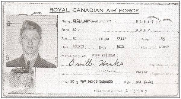 ID Pass - Orville Wesley Hicks - RCAF