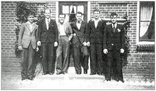 S/Sgt. Martin Cech - 3rd of left - with other evaders