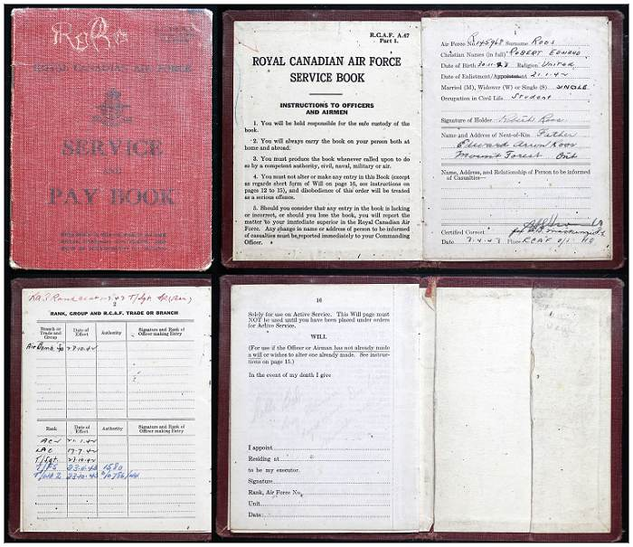Service and Pay book - R/145968 - Warrant Officer Class II - Robert Edward Roos - RCAF
