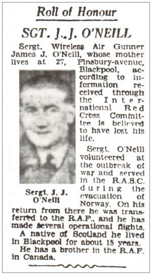 1033308 - Sergeant - James Joseph O'Neill - RAFVR - Newsclip Blackpool Gazette 22 Jun 1943