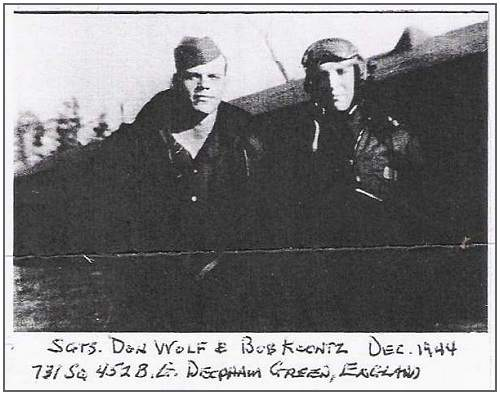Sgts. Don Wolf and Bob Koontz, Deopham Green, Dec 1944