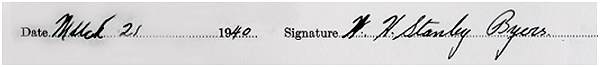 Signature - Attestation paper - William Harold Stanley Byers