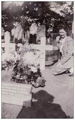 Sister Vera at grave of Arnold