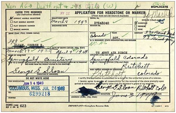 Sgt. George Ellis Sloan  - headstone application from '293' records