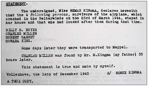Statement - Miss Renske Kingma - 14 Dec 1945
