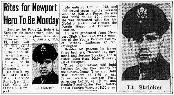 Rites for Newport Hero to be Monday 31 Apr 1950 - 1st Lt. - Bombardier - Robert L. Stricker
