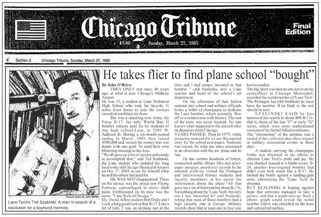 Ted Szalinski - He takes flier to find plane school 'bought' in 1943