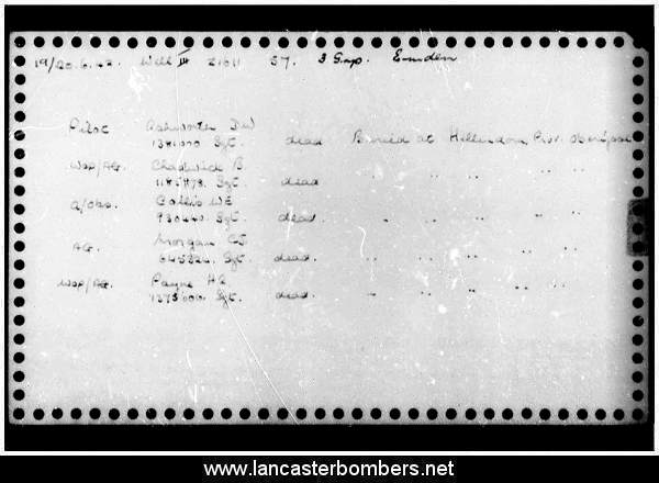 Loss Card - Z1611 - DX-R - Ashworth - via www.lancasterbombers.net