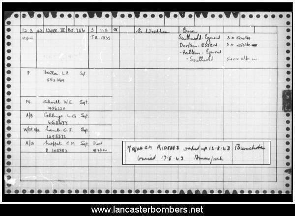 Loss Card - BJ756 - KO-Q - Fallon - via www.lancasterbombers.net