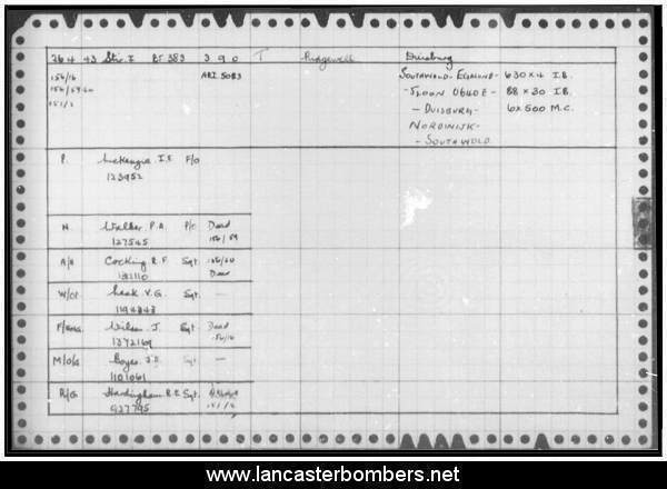 Loss Card - BF383 - WP-T - Mackenzie - via www.lancasterbombers.net
