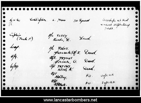 Loss Card - L7844 - KX-T - Land - via www.lancasterbombers.net