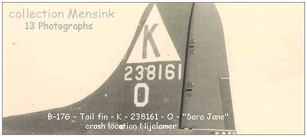 Tail fin B-17G - 'SARA JANE' - #42-38161 at crash location