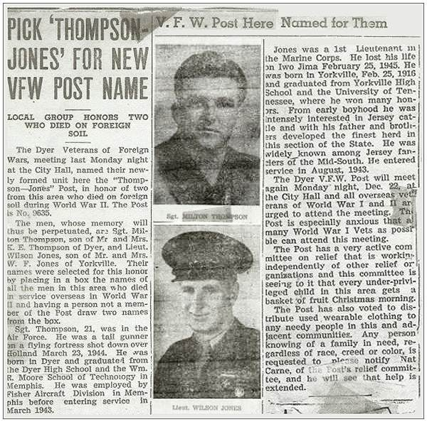 VFW Post No. 9635 - Dyer, TN - 'Thompson-Jones' Post name