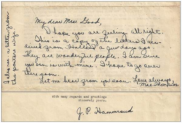 Letter (copy) from Mrs. Mae Thompson to Mrs. Good - 06 Jul 1945