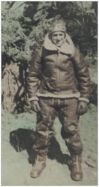 T/Sgt. Vernon Pierce Brubaker Jr. in flying suit - likely 1943