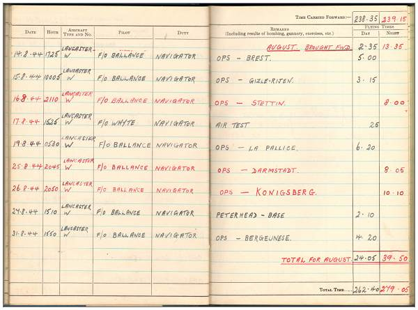 Aug 1944 - Flying Log Book - 1395660 - Flight Sergeant - Navigator - Eric Henry Tunnell - RAFVR