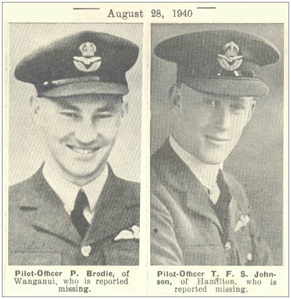 TWN - 28 Aug 1940 - P/O. Brodie and P/O. Johnson reported missing