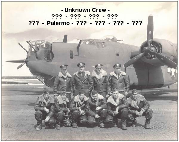 S/Sgt. Louis Palermo - front row - 2nd left - with unknown crew and location