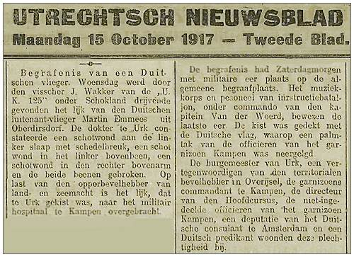 Utrechts Nieuwsblad - Monday 15 Oct 1917 - Blad 2 - Funeral of Emmler in Kampen