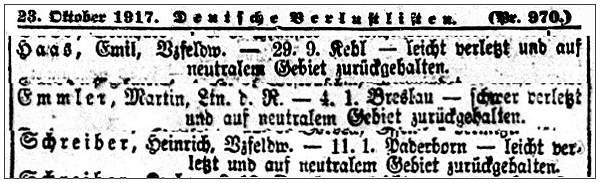Clip - Verlustliste nr.970 of 23 Oct 1917