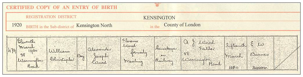 Clip - Birth Certificate - William Christopher Wood - 11 Mar 1920 - via GRO