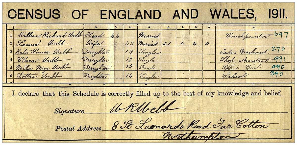 Family William Richard Webb - census 1911, UK
