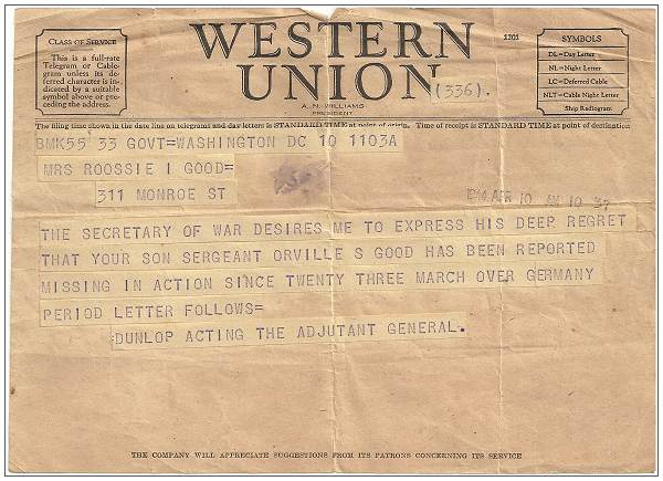 Western Union Telegram - Mrs. Rossie I. Good née Towry - 10 Apr 1944