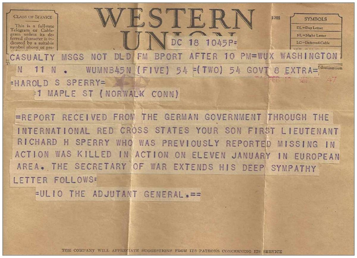1st Lt. Richard H. Sperry - Western Union Telegram - KIA